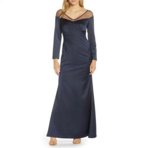 Adrianna Papell Long Sleeve Illusion Gown